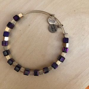 Alex & Ani | purple & gold beaded bracelet